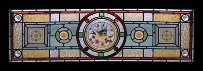 Rare Painted English Bird In Blossom Antique Stained Glass Window With Faces