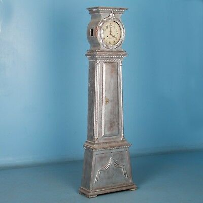 Antique Danish Grandfather Clock With Silver Paint