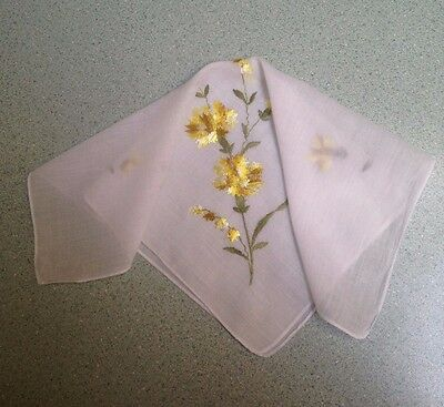Vintage Embroidered Carnation & Lily Of Valley Floral Hankie Handkerchief J-16