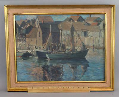 1919 Antique ALEXANDER BOWER Maine Maritime Fishing Boat Harbor Oil Painting NR