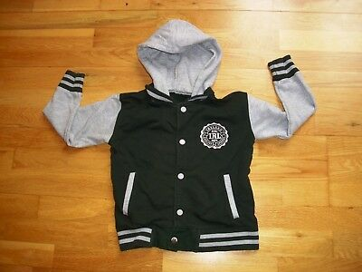 Boys hooded varsity jacket from IRELAND QUALITY APPAREL age 5-6 green and grey
