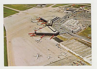 Germany HANNOVER Airport Aerial View Many Airplanes Color Photo Postcard