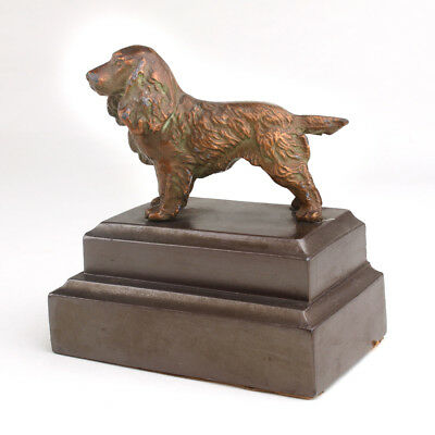 Vintage Dog Cocker Spaniel  Door Stop Statue Bronze  Copper Metal Finish Heavy