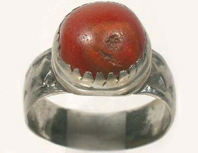 Antique 18thC Russian Ukrainian Crimea Tatars Silver Ring Orange Carnelian Sz9½