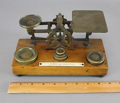 Small Antique 19thC Brass & Wood Postal Mail Postage Scale w/ Weights No Reserve