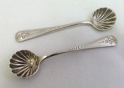 Pair Of Exeter Solid Silver Salt / Mustard Spoons - Exeter 1860
