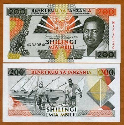 Tanzania 200 Shillings ND (1993), P-25b, MX UNC > President, Leopards, Fishermen