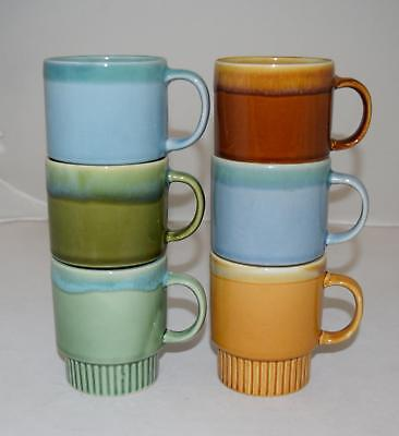 Set of 6 RETRO 1970's MUGS Ceramic Drip Glazed Stacking/Stackable Vintage