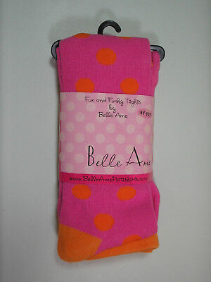 Belle Ame Girls Tights Ages 9 to 12 Years Pink With Orange Polka Dots Sz 7-8-10