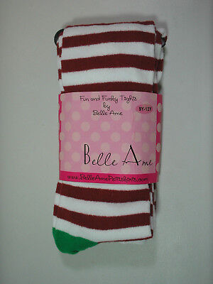 Belle Ame Girls Tights Ages 9 to 12 Years Red/White Stripes Sz 7-8-10