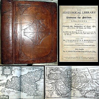 1699 Historical Library Diodorus Siculus 1St English Maps Egypt War Myth Persia