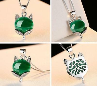 Charm Jade Fox Pendant Box Necklace Necklace in Silver Plated