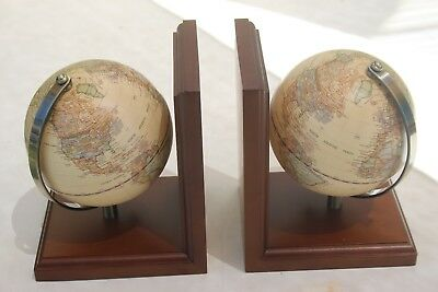 Lovely World Globe Book Ends Swivel Map Wooden Base Metal Bookends