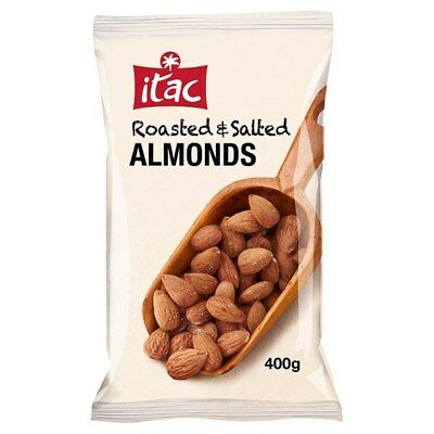 ITAC Roasted & Salted Almonds - 400g Gram Bag - UK SAVOURY SNACKS & NUTS