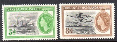 1955 TURKS & CAICOS ISLANDS QE II PICTORIALS SG235-236 mint very light hinged