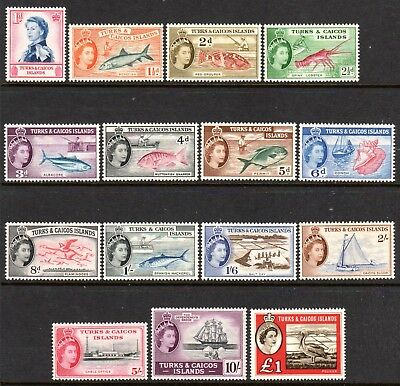 1957 TURKS & CAICOS ISLANDS QEII PICTORIALS SG237-250 253 mint vlh £1 is muh