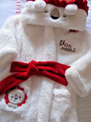 New White Plush Fluffy ~ Fisher Price ~ Baby Boy Lion Dressing Gown ~ Adorable