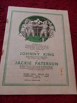 Boxing Programme - Johnny King V Jackie Paterson 1947