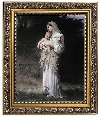 Madonna and Child Jesus by Bouguereau Innocence Image In Ornate Frame W Glass