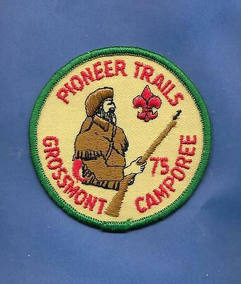New! 1975 Bsa Boy Scouts Pioneer Trails Grossmont Camporee Embroidered Patch