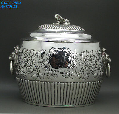 Antique George Iii Exquisite Solid Sterling Silver Biscuit Box, W.a, London 1809