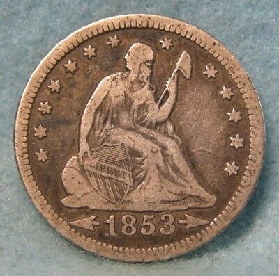1853 Arrows & Rays Seated Liberty Silver Quarter FINE * US Coin *