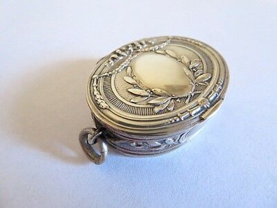 French Silver Laurel Leaves Chatelaine Powder Box by V. Leloutre ca. 1890