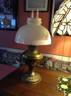 1886 brass Juno converted to electric oil lamp with white glass shade