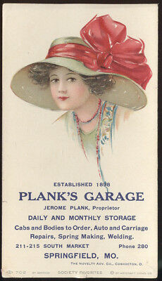 1930S Ink Blotter Advertising Plank's Garage, Springfield, Mo. Pretty Lady Motif