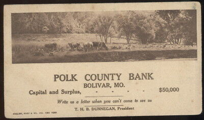 1920S Ink Blotter Advertising The Polk Co. Bank, Bolivar, Mo.