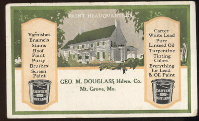 1930S Ink Blotter Advertising Carters White Lead Paint, Douglss Hdwe Mt Grove Mo