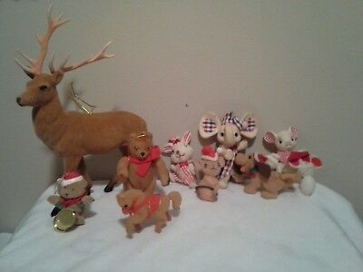 Misc. lot of vintage Christmas flocked animals~mice, horse, dog, plus more