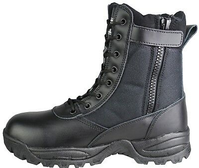 SavageOps Army Patrol Tactical Combat Boots SIDE ZIP Security Black Leather 926