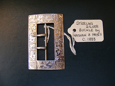Small Antique .925 Sterling Silver 2 - Prong Nurses Belt Buckle - Birming c.1888