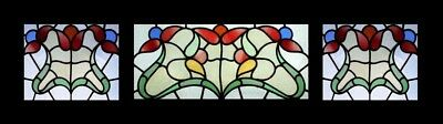 Stunning Art Nouveau Floral Set Of 3 Antique English Stained Glass Windows
