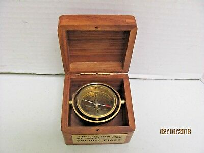 Estate Stanley London Brass Nautical Compass in Rosewood Presentation Box