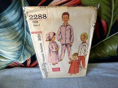 60s Simplicity Toddler pajama sewing pattern 2288 2/21 breast