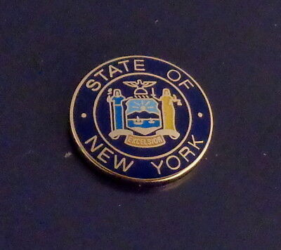 """New York 11/16"""" gold COLLAR/LAPEL PINS state seal Police/Fire/sheriff/EMS NY"""