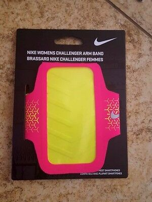 Nike Women's Challenger Arm Band Pink /Yellow Smartphone Run  Workout Band