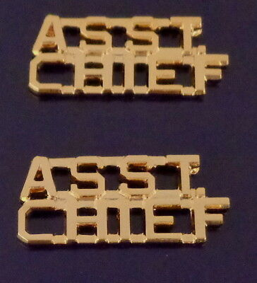 "ASST CHIEF Gold 1/4"" Lettering/Letters Pair Collar Pins Insignia (police/fire)"