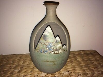 Pretty Welsh Pottery Posy Vase With A Hand Painted Rural Scene By Corris Wales