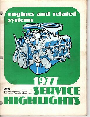 Rare 1977 Ford Service Highlights Engines and Related Systems Manual M117
