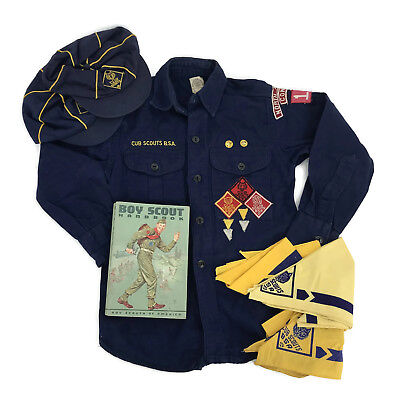 Vintage 1950s Boy Scout Cub Scout Uniform Shirt Hats Kerchiefs Handbook Lot