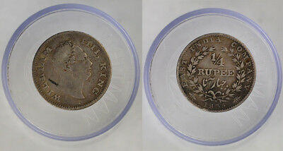 Scarce 1835 King William Iiii - East India Company - Silver 1/4 Rupee Coin !!!