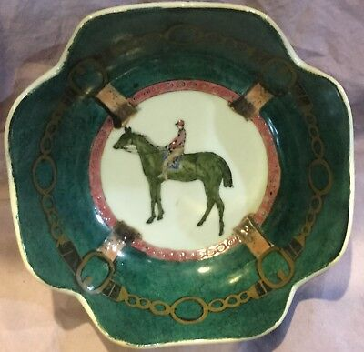Race Horses and Leathers Asian Design Decorative Porcelean Bowl Made in China