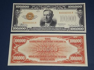 Nice Crisp Uncirculated 1934 $100,000 Gold Certificate Copy Note!