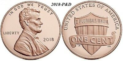 2018 P Lincoln cent penny - Four (4) Penny Lot - Philadelphia - Uncirculated