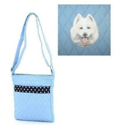Q purse SAMOYED Light Blue Quilted Microfiber Fabric Hipster Purse