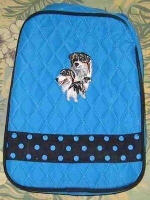 Q lunch AUSTRALIAN SHEPHERD Quilted TURQUOISE Insulated Fabric Lunch Sack Bag