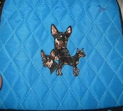 Q lunch MINIATURE PINSCHER MIN PIN Quilted TURQUOISE Insulated Fabric Lunch Sack